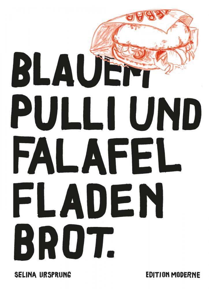 Mit blauem Pulli und Falafel Fladenbrot